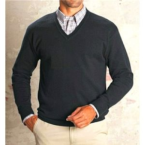 Pendleton Charcoal V- Neck Lambswool Sweater XL